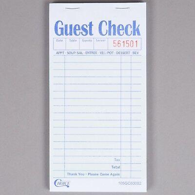 100 books - 2-Part Guest Check Carbon Restaurant Receipt Sales 5000 checks total