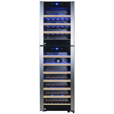 53 Bottle Dual Zone Adjustable Compressor Freestanding Wine Cooler Refrigerate