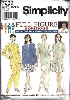 7239 UNCUT Vintage Simplicity Sewing Pattern Womans HOAX Top Pants 6 Gore Skirt