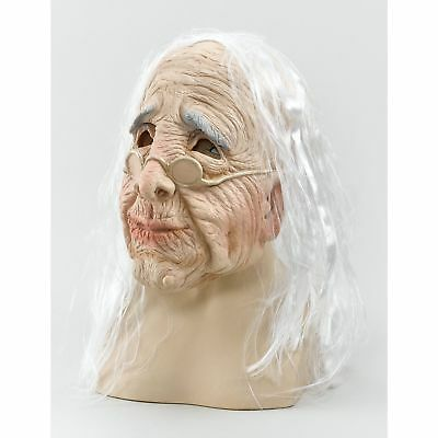 HALLOWEEN HORROR SCARY OLD WOMAN MASK/HAIR - womens ladies fancy dress accessory (Old Lady Halloween Hair)