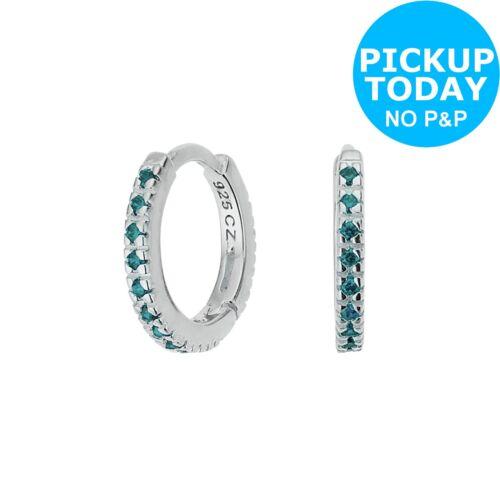 42547efad Revere Sterling Silver Pale Blue Cubic Zirconia Mini Hoop Earrings 11.3mm