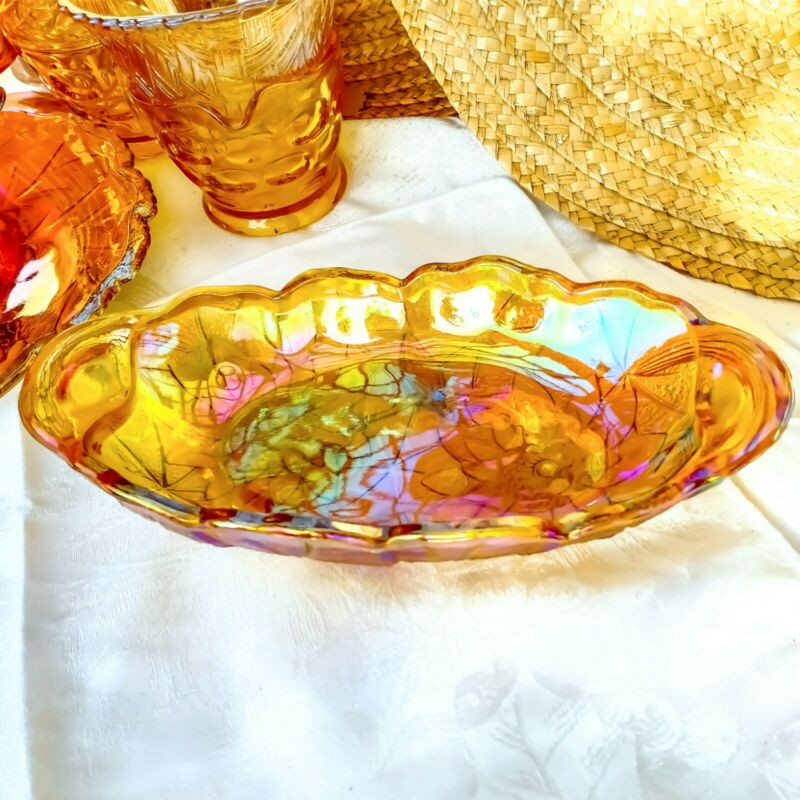 Vintage Carnival Glass Bowl Amber Gold Sunflowers Relish Nut Candy Oval Dish