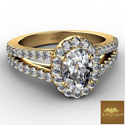 Halo Split Shank Oval Shape Diamond Engagement French Pave Ring GIA I SI1 1.47Ct 1