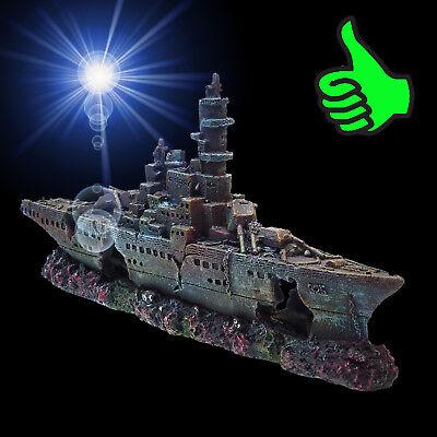 Aquarium Deko 🍀 SCHIFFSWRACK 🍀 Kiegsschiff Marine Terrarium Dekoration Zubehör ()