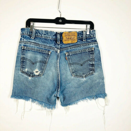 Vintage Levi Orange Tab Distressed Cut Off Jean Shorts High Rise Size 33 Cotton