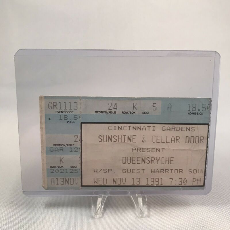 Queensryche Cincinnati Gardens Ohio Concert Ticket Stub Vintage November 13 1991