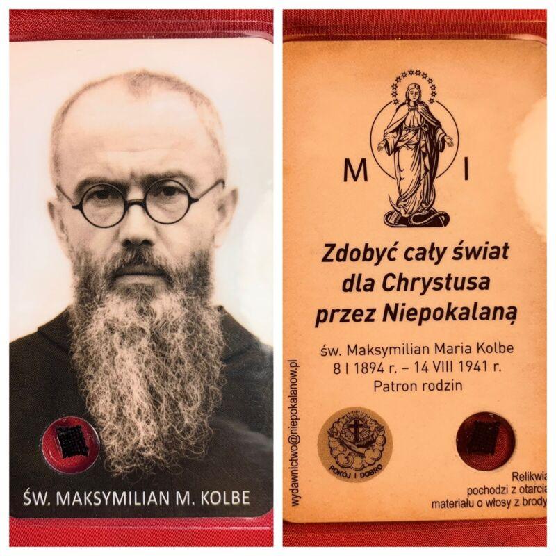 RELIC Reliquary SAINT MAXIMILIAN KOLBE Poland Polish Martyr Catholic Jesus BEARD