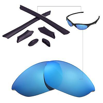 a86dc1f087f New Walleva Ice Blue Lenses And Black Rubber Kit For Oakley Half Jacket
