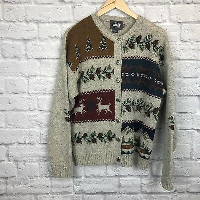 Woolrich Hanframed Cardigan Winter Holiday Theme Sz M 116.489](Winter Holiday Themes)