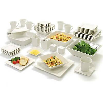 45 Piece Square Banquet Dinnerware Set for 6 Plates Stoneware Dishes WHITE Serve ()