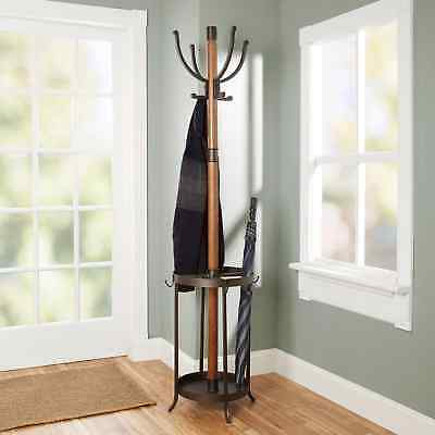 Wood Metal Dawson Coat Rack Umbrella Stand Brown Elegant Transitional Organized ()