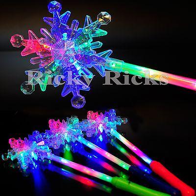 12 PCS Light Up Snowflake Wands Princess Frozen Snow LED Fairy Magic Scepter