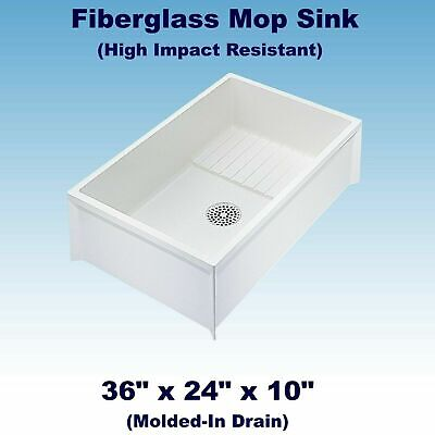 MOP Sink Service Basin White Single Bowl Floor Mount Center Drain 36 X 24 X -