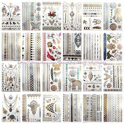 US SELLER- 20 sheets wholesale temporary metallic flash tattoo fake - Temporary Tatoos