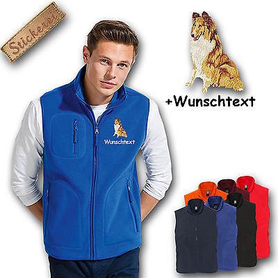 Collie Embroidered Fleece - Fleece Vest Fleece Vest Embroidered Embroidery Dog Collie + Name