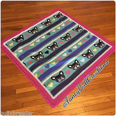 FRENCH BULLDOG Blizzard Fleece Handmade Crochet Puppy Blanket for Dog Bed Gift