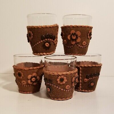 Vintage Shot Glasses - Unused in Box - with Hand Crafted Leather Beaded - Shot Glass Beads