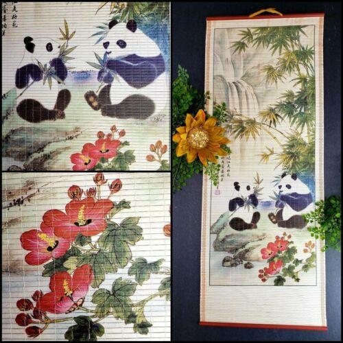 Vintage Pandas Asian Red Hibiscus Scroll ART Wall Hanging Bamboo Scene Rattan