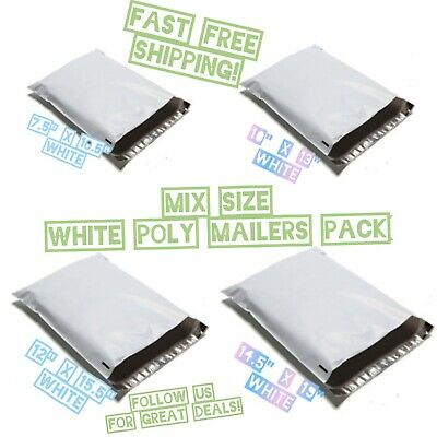 100 Mix Size White Poly Mailers Variety Pack