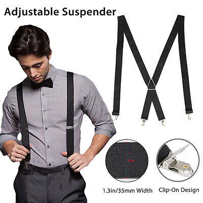 Mens Black X-Back Clip-on Suspenders Adjustable Elastic Retr