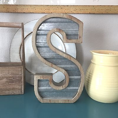 Large WOOD & CORRUGATED METAL - Wedding Home Family - Wall INDUSTRIAL LETTER S