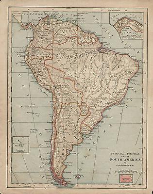 South America by A.von Steinwehr Vintage 1876 Original Antique Map