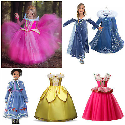 Toddler Girls Disney Princess Dress Cosplay Costume Halloween Party Dresses