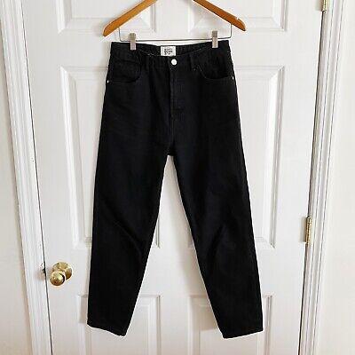 Zara Trf Black High Waist Cropped Denim Jeans Size 6