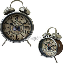 Collectible Wooden Chrome Finish Clock Table Desk Maritime Clock Decor