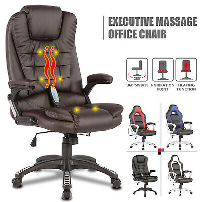 6 Point Massage Racing Game Office Chair Pu Leather Ergonomic W Remote Control