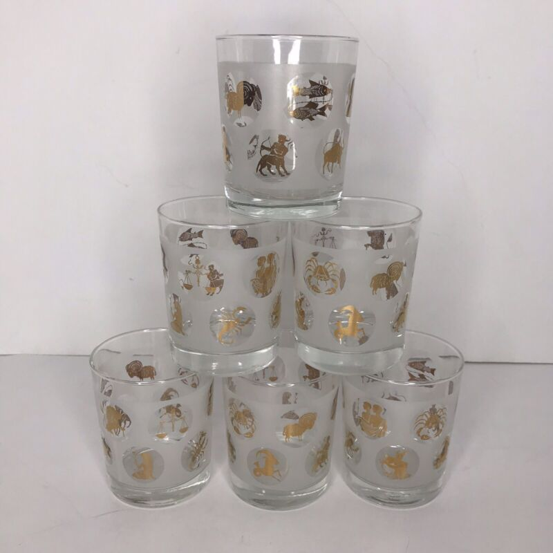 Gold Lowball Whiskey Rocks Barware Zodiac MCM Set Of 6 Frosted & Clear Glass