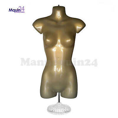 Female Torso Dress Mannequin Form Brown Gold Table Top Stand Hanging Hook
