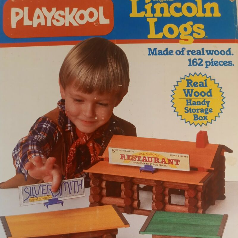 Playskool Original Lincoln Logs Real Wood Complete 1986