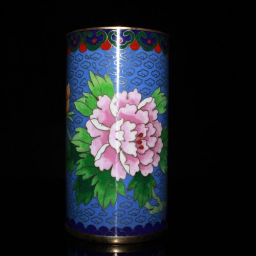 13 cm Chinese Antique Brass brush pot Old Cloisonne copper brush pot