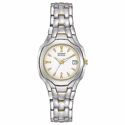(Citizen Eco-Drive Women's White Dial Two Tone Bracelet 25mm Watch EW1254-53A)