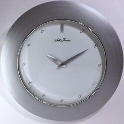 Seth Thomas Wall Clock Modern Silver Chrome Brushed Metal Look Young Town Quartz