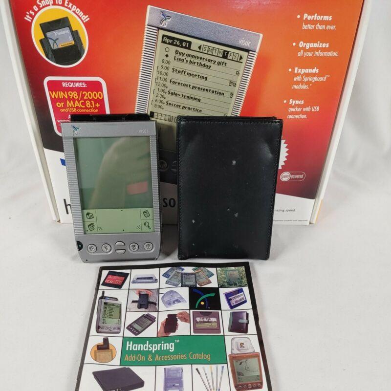 Handspring Visor Handheld PDA Palm Organizer, Stylus, leather case