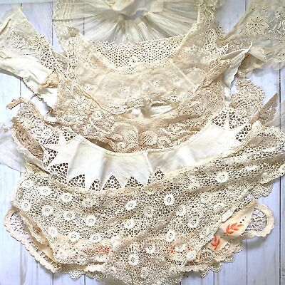 Lot of 18 Antique Crocheted Lace Collars and Cuffs