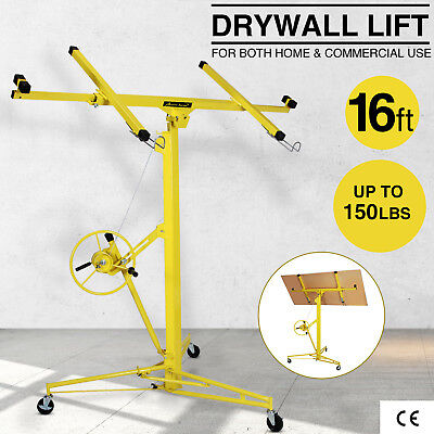 16-19 Drywall Panel Lifter Hoist Jack Rolling Caster Lockable Diy Tool Yellow
