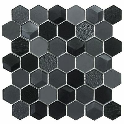 Modern Hexagon Black Glass Mosaic Tile Backsplash Kitchen Feature Wall MTO0256 ()