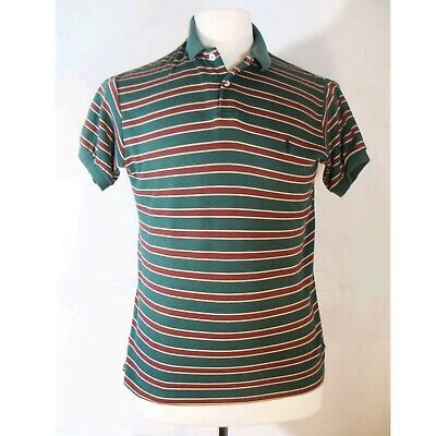 Vintage Ralph Lauren Polo Striped Tee, Men's Medium, Green Stripe, 2 Button (Mint Green Ralph Lauren Polo)