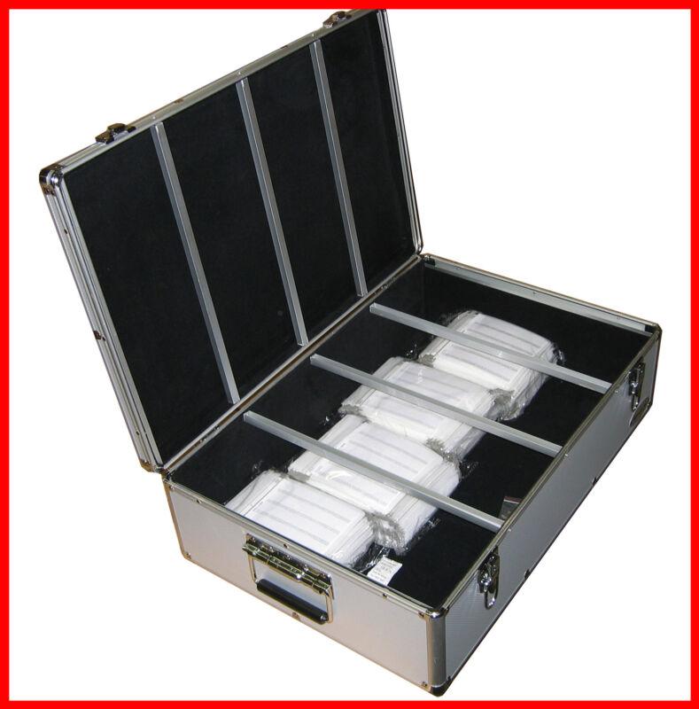 1000 CD DVD Silver Aluminum Hard Case For Media Storage Holder w/ Hanger Sleeves