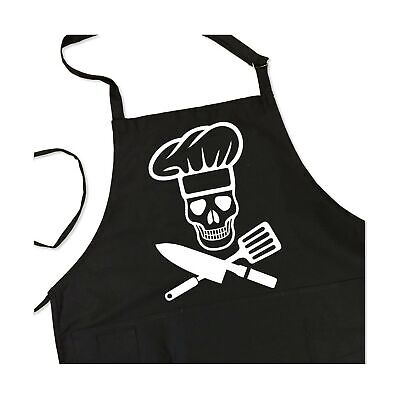 BBQ Grill Apron - Pirate Cook Skull Chef - Funny Apron For Dad - 1 Size Fits - Pirate Apron