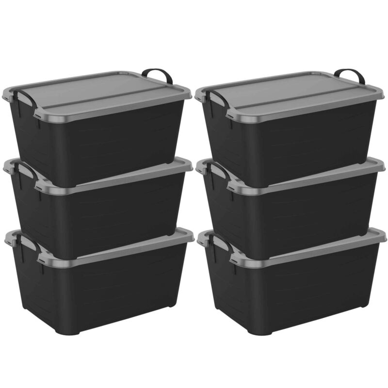 Life Story Stackable Locking Closet & Storage Box 13 Gallon Containers, (6 Pack)
