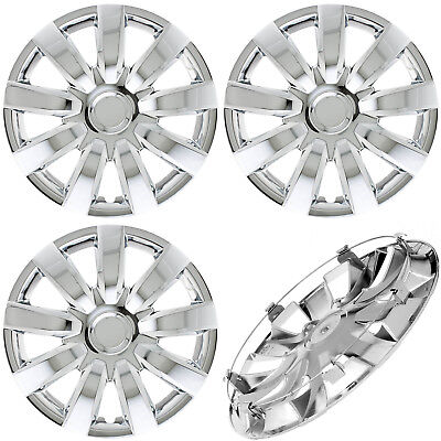"4 Pc of 15"" Inch CHROME Hub Caps (With Metal Clips) Covers for Steel Wheel Cap"
