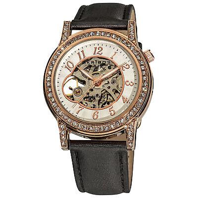 Women's Akribos XXIV AK475RG Crystal Open Heart Automatic Skeleton Satin Watch