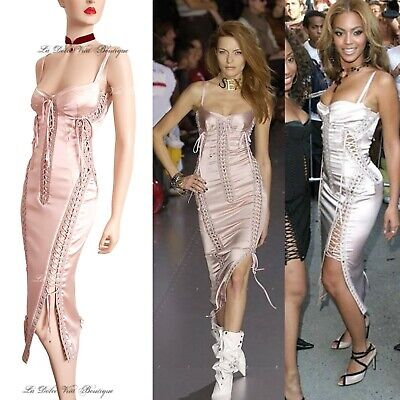DOLCE & GABBANA vintage 2003 pink corset Beyonce hot DRESS size UK 8 USA 4 40 DG Sweetheart Ankle Length Satin