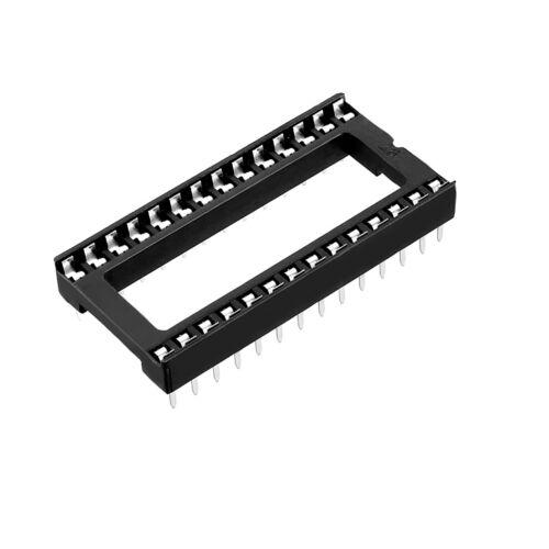 (2 PCS) 28-Pin DIP IC Socket Adaptor Solder Type Retention Contact - USA SELLER!