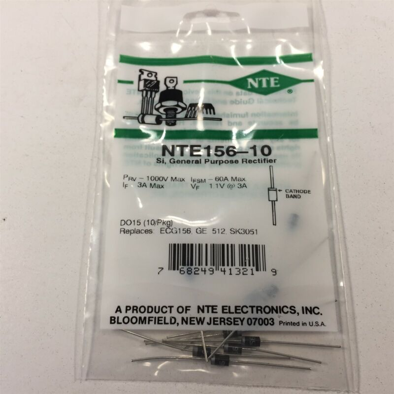 (10) NTE NTE156-10 General Purpose Silicon Rectifier - Lot of 10