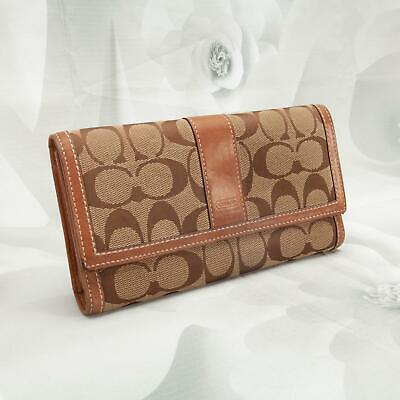 Coach Women's Tri-Fold Clutch Wallet W/Checkbook Large Signature C Brown/Khaki Large Tri Fold Wallet